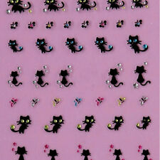 Nail Art Stickers Decals Nail Decoration Diamond Cat Butterfly Design K16A