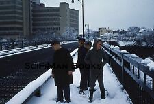 KODACHROME 35mm Slide Cute Boys Walking Across Bridge Winter Snow Fashion 1963!
