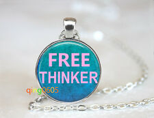 Free thinker hippie glass dome Tibet silver Chain Pendant Necklace wholesale