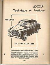 REVUE TECHNIQUE AUTOMOBILE 170 RTA 1960 PEUGEOT 403 1957 1958 1959 1960 403 SEPT