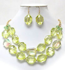 CHUNKY LIME Acrylic Stone ICE Lime Acrylic Bead Double Necklace & Earring Set