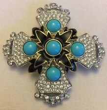 New Kenneth Jay Lane's East Side Turquoise Brooch Pin