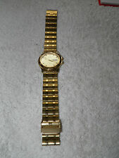 Classic Style Day Date Mens Gold Tone Quartz Watch