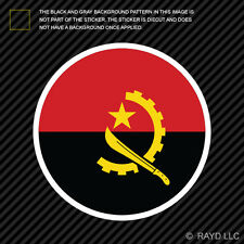 Round Angolan Flag Sticker Die Cut Decal Self Adhesive Vinyl Angola AGO AO