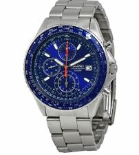 Seiko Men's SND255 Chronograph Pilot Blue Dial Stainless Steel Watch