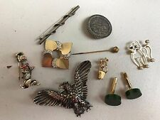 VTG SILVER/14K GOLD LOT OF BROACHES/PINS/STICK PINS EAGLE POODLE CUFF LINKS GEM