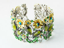 Spring Green Flower Fields Garden Crystal Rhinestone Bracelet Bangle Cuff S0319