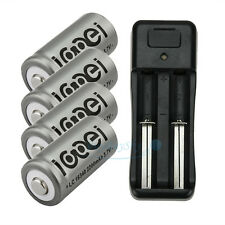4PCS 3.7V CR123A 123A CR123 16340 2200Mah Rechargeable Battery BTY + UL Charger