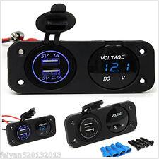 Waterproof 12V Dual Port USB Charger Blue LED Digital Voltmeter Car Marine Boat