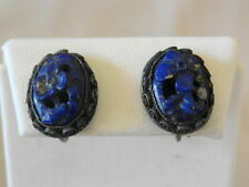 Very Old CHINA SILVER & Carved LAPIS Earrings