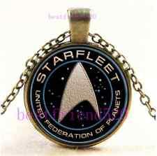 Vintage Star Trek Photo Cabochon Glass Bronze Chain Pendant Necklace