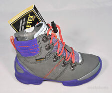 Ecco Gore-Tex Girls Biom Grey & Purple Leather Boots  UK 12.5 EU 31