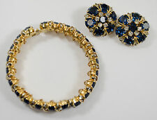 Hattie Carnegie Royal Blue Hinged Clamper and Donut Hole Clip Earrings