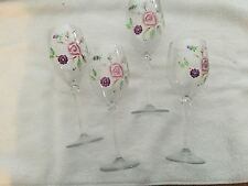 VINTAGE / RARE SET OF 4 HAND PAINTED WINE GLASSES - MAUVE FLORAL DESIGN - USED