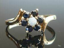 Stunning Hallmarked 9ct gold Opal and Sapphire flower/cluster ring F17