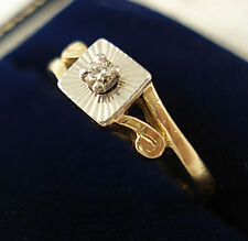 Art Deco Style 18ct Gold Diamond Solitaire Ring.