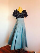 EMMA DOMB 1960's VINTAGE SATIN AND LACE DRESS IN TEAL BLUE