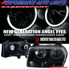 05-09 CHRYSLER 300 DUAL CCFL ANGEL EYE HALO HEADLIGHTS BLACK PAIR HALOGEN TYPE