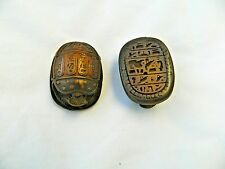 "1 Egyptian Scarab Brown Resin Cartouche Hieroglyphic 1.75"" X 1.5"" #S3"