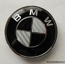 82MM BMW REAL Black Carbon Fibre Boot Bonnet Badge Emblem Fits Most models
