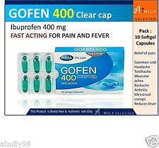 IBUPROFEN GOFEN 400 CLEAR CAP FAST ACTING PAIN RELIEVE FEVER REDUCER 10 CAPSULES
