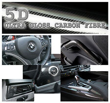 35x152cm Black Super Gloss 5D Carbon Fibre Vinyl Wrap High Quality Bubble Free