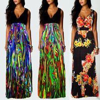 Roiii Plus Size 8-24 Ladies Summer Boho Party Evening Sleeveless Long Maxi Dress