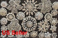 26 pc Vintage style Lot rhinestone crystal brooch bridal wedding bouquet kit DIY