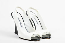 Manolo Blahnik Cream Black Patent Leather Peep Toe Wedge Slingback Pumps SZ 36