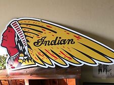BIG INDIAN MOTORCYCLE OLD STYLE SIGN WAR BONNET 44x19 ONLY 1 AVAILABLE Sweet...