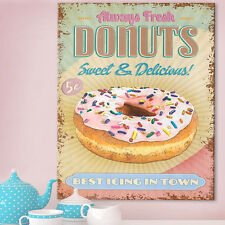 Donuts Metal Wall Sign American Diner Kitchen Doughnuts Cafe Retro Tin 30x41cm