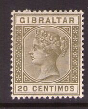 GIBRALTAR SG25  Victoria 1889 20 cts lightly hinged.