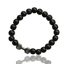 Men Agate Gemstones Dumbbell Barbell Yoga Matte Beaded Lucky Wrap Bracelet new