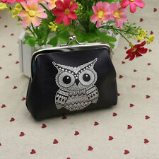 Vintage Retro Wallet ID Card Holder Case Coin Purse Clutch Handbag Bag Owl Black