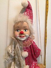 Porcelain CLOWN STRING DOLL in Pink,White & Silver Outfit ON SWING HANGING  28""