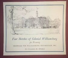 Vintage Sketches of Colonial Williamsburg for Framing by Charles H. Overly