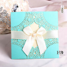 60 Sets Laser Cut Tiffany Blue Wedding Invitation Cards Kits with Ribbon Bow