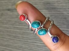 "TURQUOISE & LAPIS & RED CORAL STONE.925 SILVER PLATED RING SIZE US 10""ADJUSTABLE"