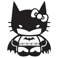 2 x Hello Kitty Batman Super Hero Decals Stickers Vinyl Car Window Bumper Wall