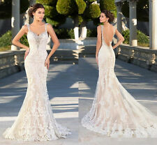 Lace Mermaid Beaded Straps Backless Wedding Dress White/Ivory Bridal Gown Custom