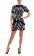 For Love & Lemons Knitz Women's Big Sur Short Sleeve Dress Black White BCF69