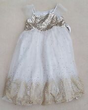 MONSOON Girls Party Dress Gold Sequin Top Beige Sparkly Skirt Nylon 10 Years