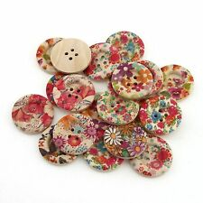 20pcs Mixed Painting Flower Wood Sewing 4 Holes Buttons Scrapbooking 25mm 111552