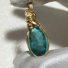 Blue Green Teal FLUORITE  Pendant 14k Gold gf w/necklace Hand Cut 19ct 142g3