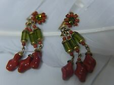 Miriam Haskell Vintage Dangling Green Orange Glass 1946 Screw Back Clip Earrings