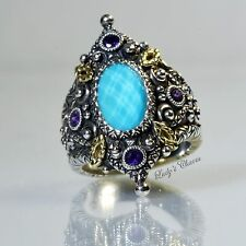 Barbara Bixby Doublet Turquoise Amethyst Sterling Silver 18k Gold Ring Size 6