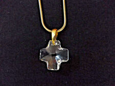 """NWOT SWAROVSKI CRYSTAL FACETED CROSS CLEAR PENDANT NECKLACE 16"""" CHAIN; GERMANY"""