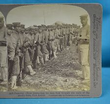 Stereoview Photo Russo-Japanese War Officer Instructing Men Port Arthur China 中国