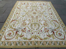 Old Hand Made French Design Wool Gold Beige Original Aubusson 310x239cm 10x8