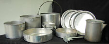 Vintage Nested Aluminun Camping Cookware Set unmarked  16 pieces